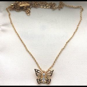 Kate Spade Gold-Tone Crystal Butterfly Necklace